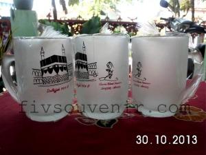 Souvenir gelas oleh-oleh pulang haji